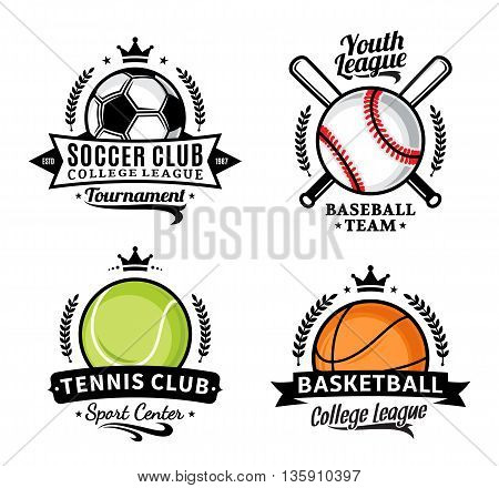 Set Of Sport Team Logo For Four Sport Disciplines