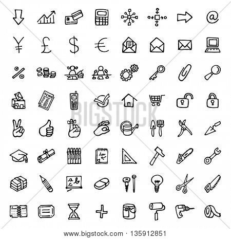 black and white hand drawn icons - OFFICE & TOOLS