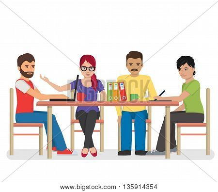 Flat illustration of a group of hipster looking individuals around the table having a conference meeting, co-working, colleagues discussing project, brainstorming.