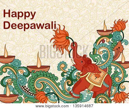 Vector design of Diwali decorated diya in Indian art style