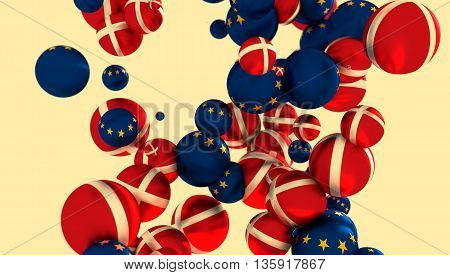 Large group of orbs or spheres levitation in empty space. 3D rendering. Denmark and European Union flags