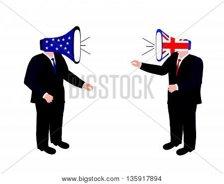 Brexit vector illustration.European Union and England torn flags.Brexit cracks. United Kingdom exit from europe vector.Brexit concept. Brexit concept people