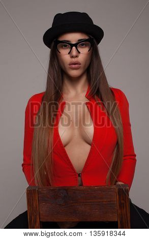 Sexy business lady wearing red bra.big lips and boobs.