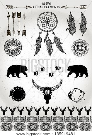 Hand drawn tribal collection with arrows, feathers, dream catchers, horns, bear, skull , bull,  patterns, frame for design logo, invitation and more. Vector tribal, ethnic, aztec, hipster elements