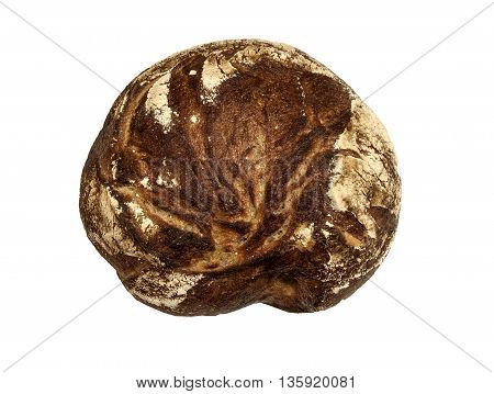 Rustic rye bread on a white background