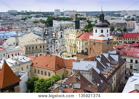 Old town in Lublin Poland - aerial view