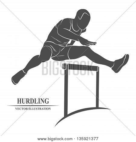 Man jumping over hurdles icon. Vector illustration.