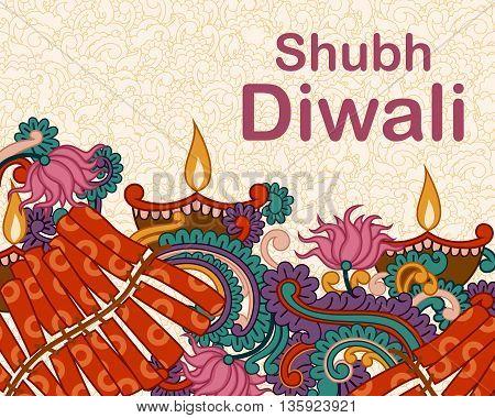 Vector design of Diwali decorated diya and fircracker in Indian art style wishing Shubh Deepawali Happy Diwali