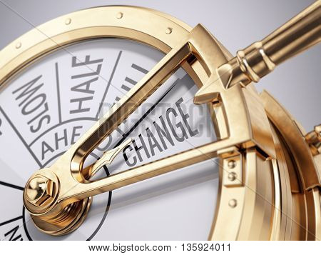 change concept - ships engine room telegraph on change direction