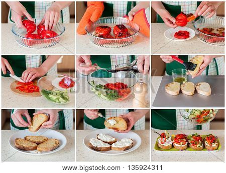 A Step By Step Collage Of Making Pepper Bruschetta
