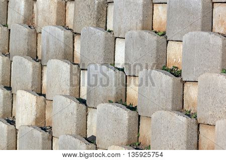 Cement Blocks Forming Pattern On Retaining Wall