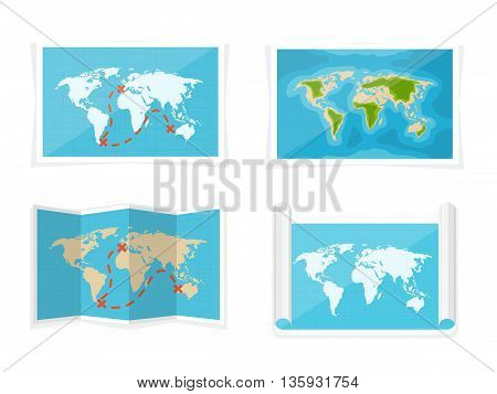 World map. Vector illustration. Navigation. Africa, Antarctica, Australia, Eurasia, North America, and South America.