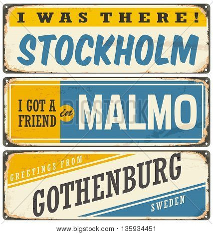 Vintage vector souvenir sign or postcard templates with cities in Sweden. Travel theme. Places to visit and remember.