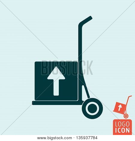 Trolley icon isolated. Delivery trolley. Free shipping symbol. Vector illustration