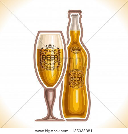 Vector logo for glass cup and bottle beer, consisting of cup, filled to the brim light lager and pilsner bottle beer on a white background. On glass pint with alcohol drink label: Premium quality