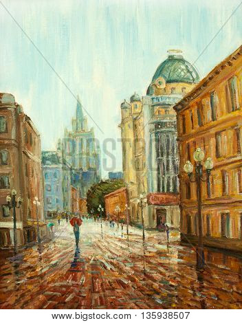 original oil painting on canvas - walking with my red umbrella, raining day in moscow, walking on central moscow street impressionism painting