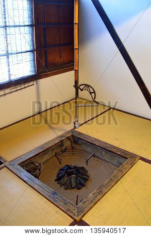 Irori: a traditional Japanese fireplace for cooking and warming the room. Usually located in a tatami room.