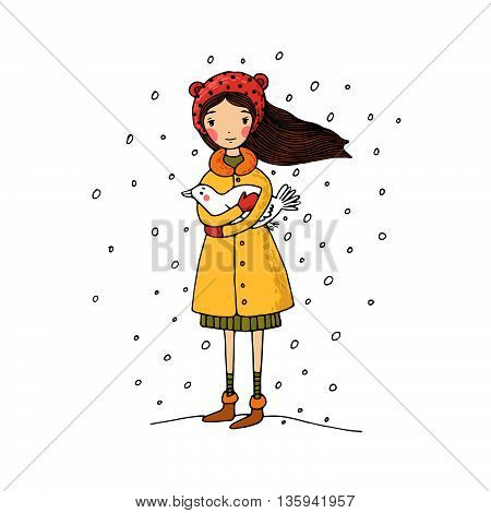 Beautiful young girl and bird. Hand drawing isolated objects on white background. Vector illustration.