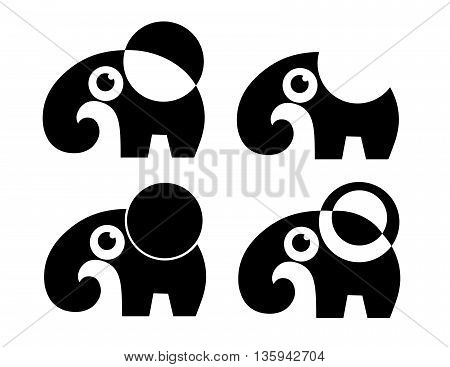set of four abstract elephant. vector. isolated