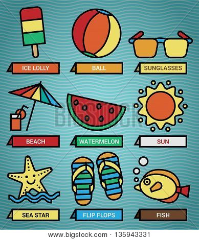Set one includes nine icons of summer beach elements in vector format