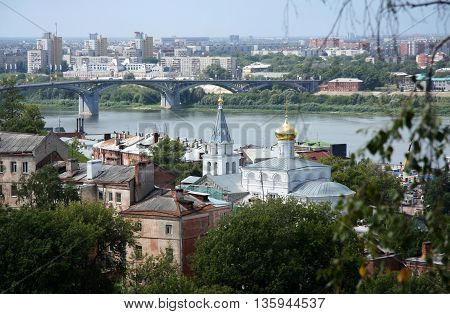 Nizhniy Novgorod view with Volga river and the old church, Russia