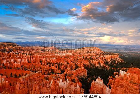 Colorful Sunset Over Bryce Canyon.  Bryce Canyon National Park, Utah, USA