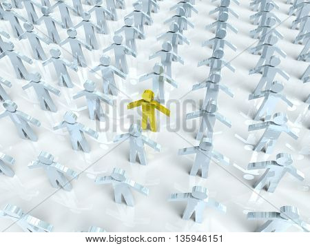 Standing out from the crowd. 3D Illustration.
