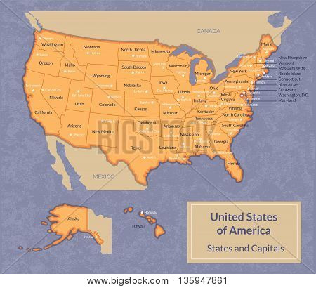 Vector illustration of USA map with all states and their capitals. Vintage look with grunge texture.