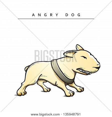 Dogs characters pitbull. Funny animals cartoon. Doodle dog