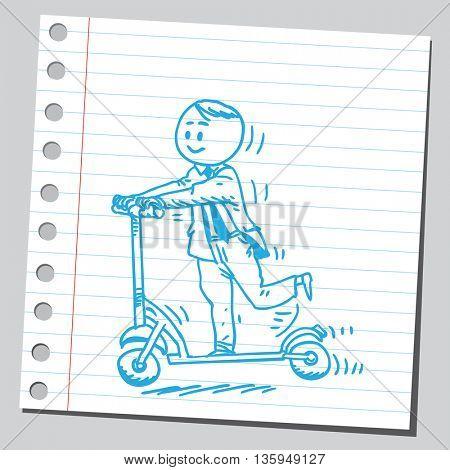 Businessman riding kick scooter