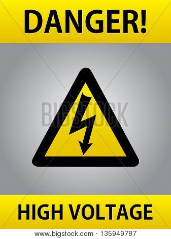 Danger High Voltage Yellow Triangle European Warning Sign