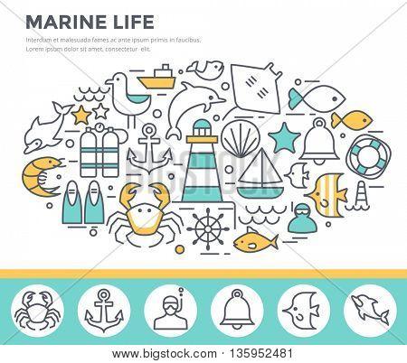 Marine life concept illustration, thin line flat design