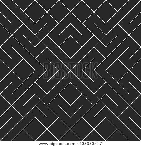 Vector seamless black and white irregular geometric shape pattern. Square blocks pattern abstract background.
