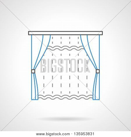 Transparent curtain and blue classic blinds with tassels. Shades, drapes, curtains and other textile decor for window. Flat line style vector icon.