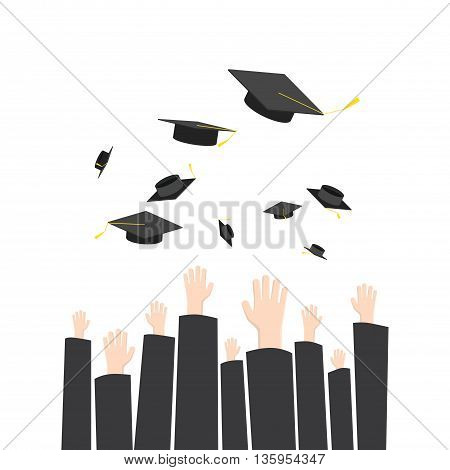 Illustration vector throwing graduation hat in graduation ceremony. A symbol of Graduation.