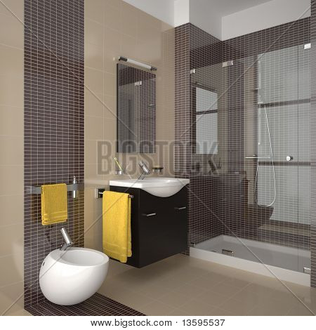 modern beige bathroom with wood furniture