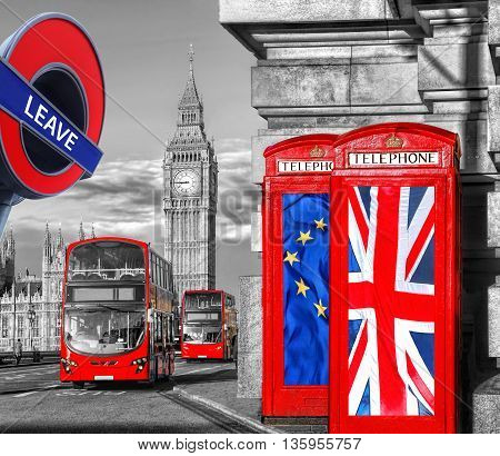 Britain Votes To Leave European Union, Phone Booths With Flags Against Big Ben In London, England, U