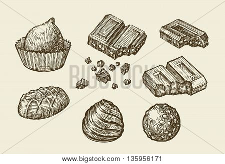 Chocolates. Hand-drawn sketch sweets, caramel, candy, bonbon sweetmeat Vector illustration