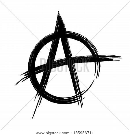 Silhouette sign Anarchy. Picture of the hand made rough brush. Abstract isolated image.