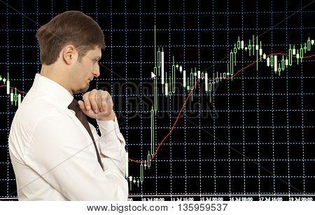 Businessman stock trader looking at monitors poster