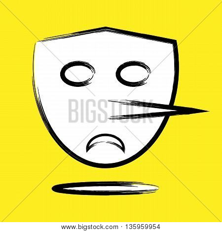 A terrible angry mask with a long nose Pinocchio. Stroke the contour ragged brush. Empty eyes sad mouth. Peculiar abstract bright background. poster