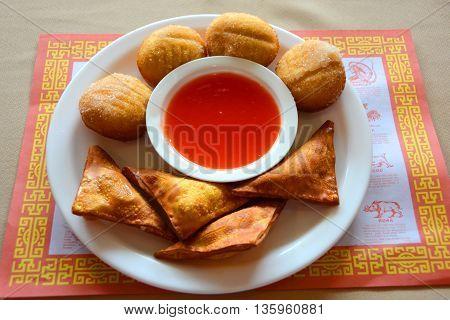 Chinese Crab Rangoon, Duck Sauce and Donuts