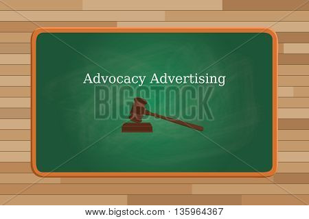 advocacy marketing concept with text and judge vector graphic illustration