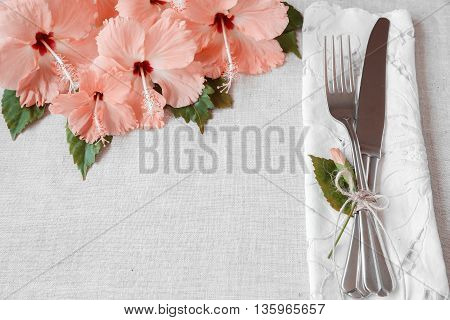 Pink Hibiscus flowers table setting background toning
