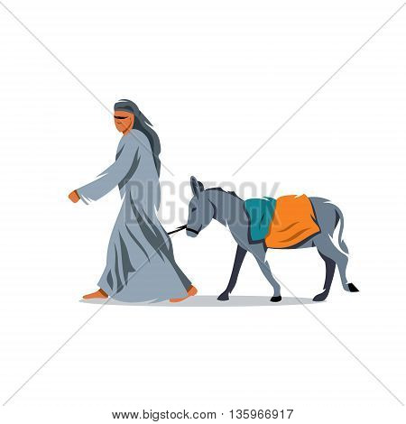 Bedouin and mule. Isolated on a white background