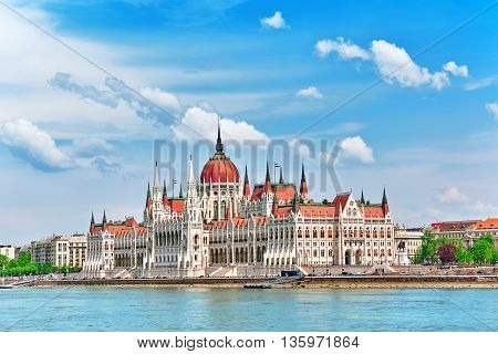 Hungarian Parliament at daytime. Budapest. View from Danube riverside.Hungary poster
