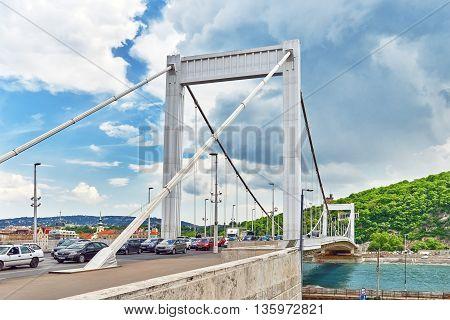 Budapest, Hungary-may 05, 2016: Elisabeth Bridge In  Budapest,bridge Connecting Buda And Pest Across