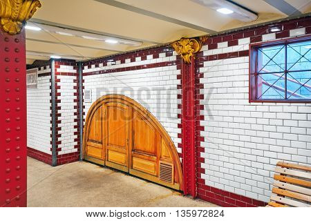 Budapest, Hungary-may 02, 2016: Interior Of Metro Station In Budapest. Yellow (1 Line) It Is The Old
