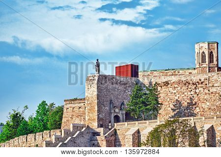 Statue  Near Budapest Royal Castle At Day  Time. Fragments Of The Castle. Hungary.