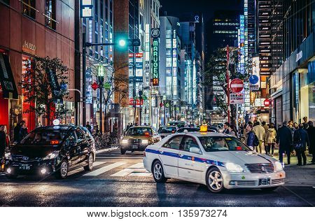 Tokyo Japan - February 27 2015: View on one of the streets of Ginza district in Tokyo